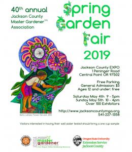 2019 Jackson County Master Gardeners Spring Fair flyer